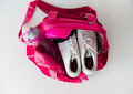 Close up of female sports stuff in backpack Royalty Free Stock Photo