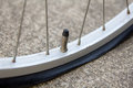 Close up of flat bicycle tire Royalty Free Stock Photo
