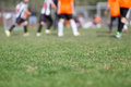 Close up of football pitch green grass at soccer with blurred players in the background Stock Images