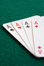 Close-up of four playing cards Stock Photography