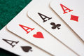 Close-up of four playing cards Royalty Free Stock Photography