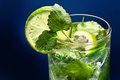 Close up of fresh mojito cocktail isolated on black background Royalty Free Stock Images