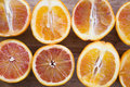 Close up of fresh oranges cut half Royalty Free Stock Photo