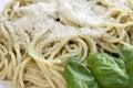 Close-up Fresh Pesto Pasta Royalty Free Stock Photo