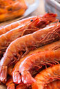 Close up of fresh shrimps at the local market in crete fish is sea and on the daily menu the greek population greece Stock Photo