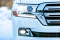 Close up front of new silver car bumper Royalty Free Stock Photo