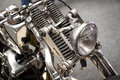 Close up of front spring suspension vintage bike Royalty Free Stock Photography