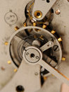 Close up gears from old clock mechanism Stock Photo
