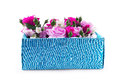 Close Up of gift box with flowers on a white background Royalty Free Stock Photo