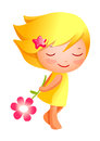 Close up girl holding flower Royalty Free Stock Photos