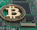Close-up of gold bit coin, computer circuit board with bitcoin processor and microchips. Electronic currency, internet finance ryp Royalty Free Stock Photo