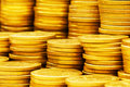 Close up of gold coin stacks Royalty Free Stock Photo