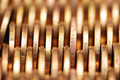 Close up of gold coins in rows Royalty Free Stock Photo