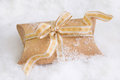 Close up of golden present box for christmas Royalty Free Stock Photo