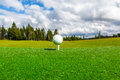 Close up of golf ball and tee, perspective of summer landscape. Royalty Free Stock Photo