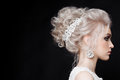 Close up of gorgeous woman with stylish bride haircut of curly blonde hair. Wearing lace dress with shiny elements and earring wit Royalty Free Stock Photo