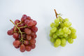 Close-up of green and red bunches of grapes Royalty Free Stock Photo