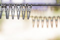 Close up group of clothespin on clothes line. Royalty Free Stock Photo