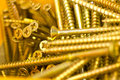 Close up group gold screws Royalty Free Stock Photos