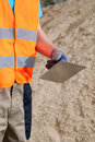 Close up of a hand with grout float manual worker Royalty Free Stock Photography