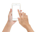 stock image of  Close-up hand touching phone mobile screen isolated on white, mo