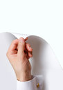 Close up hand turn white page. Turning the page from white to wh Royalty Free Stock Photo