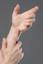 Close-up of hands holding nothing Stock Photo