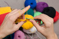 Close-up of hands knitting Royalty Free Stock Photo