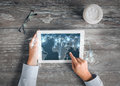 Close up of hands with tablet pc and network Royalty Free Stock Photo