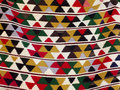 Close up of a hanged colourful handmade traditional rug Royalty Free Stock Photo