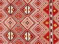 Close up of a hanged colourful handmade traditional wool rug Royalty Free Stock Photo