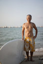 Close up of happy asian retiree in outdoor surf sports Royalty Free Stock Photos