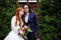 Close-up of happy boho wedding couple Royalty Free Stock Photo