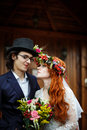 Close-up of happy young wedding couple Royalty Free Stock Photo
