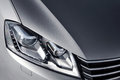 Close up headlight of grey car at daytime Royalty Free Stock Photo