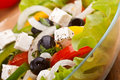 Close up healthy greek salad Stock Photo