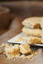 Close up of home baked shortbread biscuit cookies Royalty Free Stock Photos