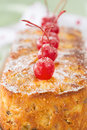 Close-up of homemade fruit cake with Maraschino cherries Royalty Free Stock Photo