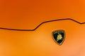 Close up of an hood and logo of a Lamborghini Huracan Royalty Free Stock Photo