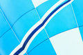 Close-up of hot air balloon vivid texture and pattern, blue-white colors. With place for your text, for modern Royalty Free Stock Photo