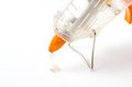 Close up of  Hot glue gun  : Clipping path Stock Photo