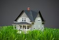 Close up of house model with green grass home on grey background concept realty and building Royalty Free Stock Image
