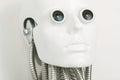 Close-up of humanoid robot head