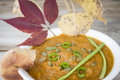 Close up image of a bowl of pumpkin soup with green onion on top. Royalty Free Stock Photo