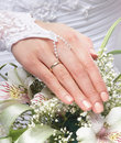 Close up image of bride s hands holding beautiful flowers in a white dress a bouquet Royalty Free Stock Photo