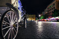 Close up image carriage wheel on main square of olf city in krak krakow Royalty Free Stock Photos