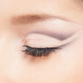 Close up image of an eye of a young woman in makeup closed beautiful Royalty Free Stock Photography