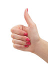 Close-up image of a female hand showing thumbs up Royalty Free Stock Photography