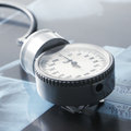 Close-up image of a grey medical stethoscope Stock Photos