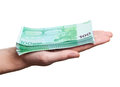 Close up image of hand taking several bills Royalty Free Stock Photo